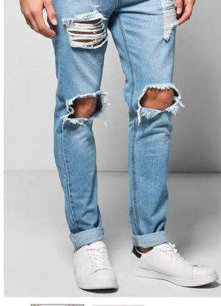 Модные рваные мужские джинсы