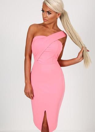 Розово пудровое платье миди бюстье