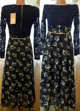 Платье миди с шифоновой юбкой в цветочный принт и кружевным ве...