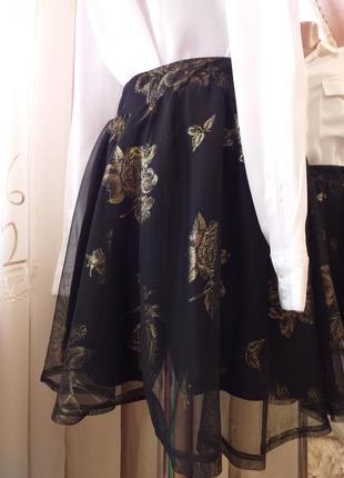 Пышная юбка с фатином в принт золотые розы
