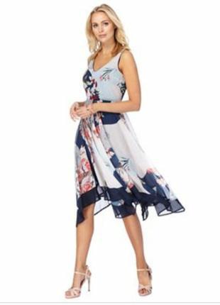 Легкое ассиметричное платье миди пачворк