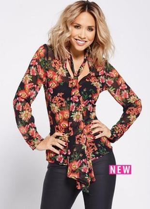 Шифоновая блуза в цветочный принт с длинным рукавом и галстуко...