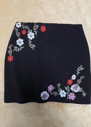 Черная юбка с вышивкой,  юбка под вышиванку