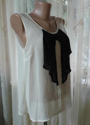 Блуза майка с контрастным бантом