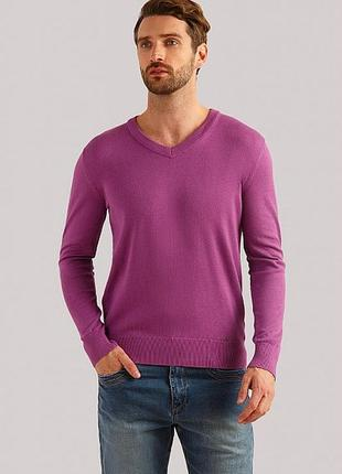 Мужской лёгкий свитер джемпер с v образным вырезом