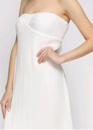Белое платье бюстье макси