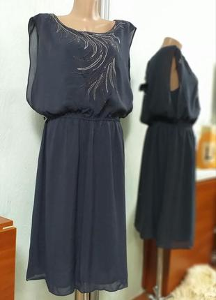 Платье графитово синего цвета
