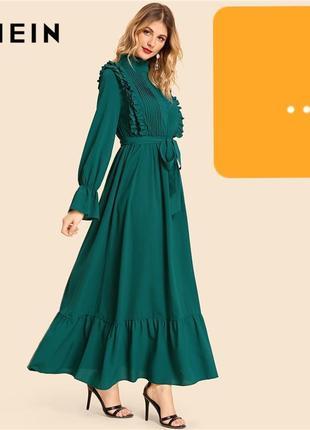 Воздушное макси платье с воланами и длинным рукавом оранжевого...