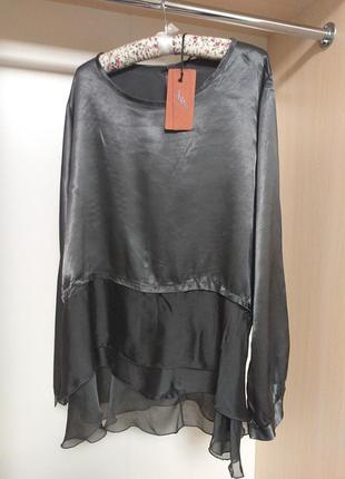 Шелковая блуза туника с воланами снизу