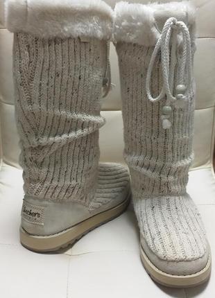 Бежевые высокие зимние сапоги угги мех + кожа + текстиль