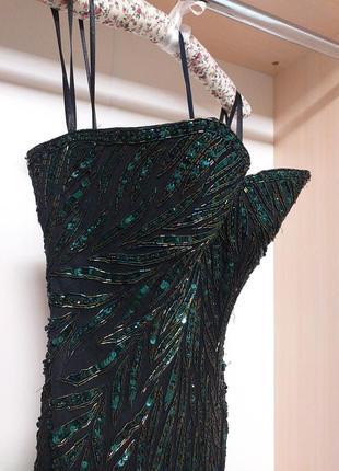 Роскошное вечернее платье бюстье расшитое стеклярусом бисером ...