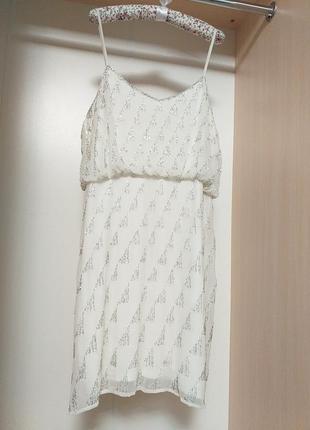 Эффектное нарядное платье сарафан расшитое стеклярусом бисером