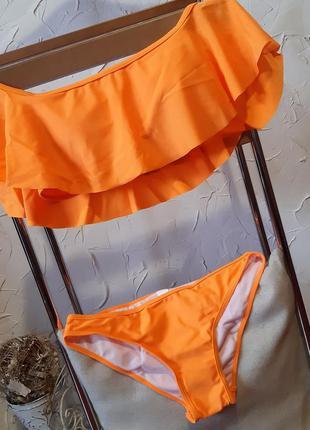Трендовый оранжевый купальник c открытыми плечами s,m