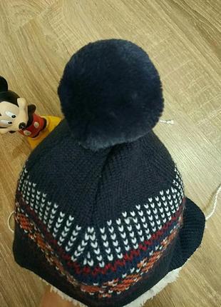 Зимняя теплая шапка на мальчика, 1-4 года