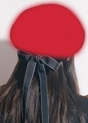 Берет красный, бирет, шапка, головной убор,берет с лентами, бе...