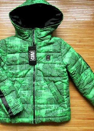 Теплая куртка для мальчика на флисовой подкладке, салатовая