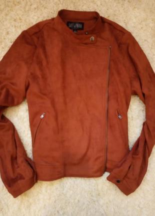 Коричневая рыжая куртка косуха под замшу замшевая