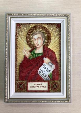 Икона вышитая бисером в багете Святой Апостол Фома