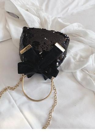 Мини сумочка с пайетками пучка полу кольцо без цепочки