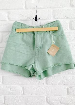 Новые качественные мятные короткие коттоновове джинсовые шорты...