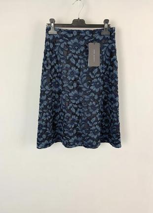 Очень красивая кружевная темно синяя юбка трапеция высокая тал...