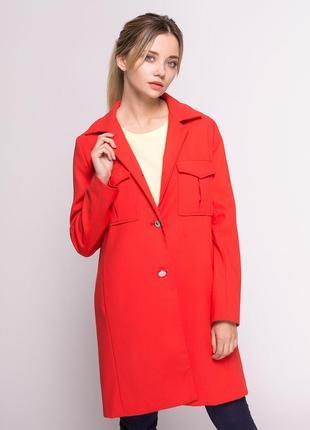 Новое женское демисезонное пальто блейзер красный на пуговицах...