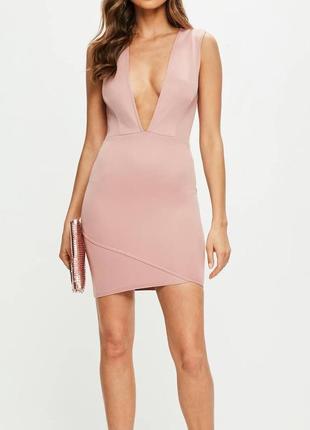Новое розовое вечернее коктейльное облегающее платье с глубоки...