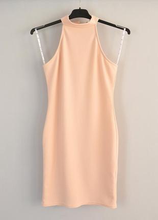 Нежное розовое облегающее мини платье из текстурной трикотажно...