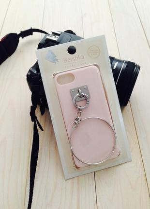 Чехол на айфон 6/6s/7 нежно розового цвета с кольцом bershka
