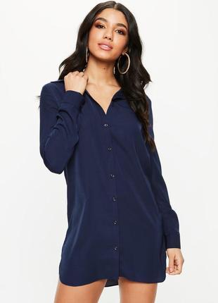 Темно-синее легкое прямое платье-рубашка  missguided