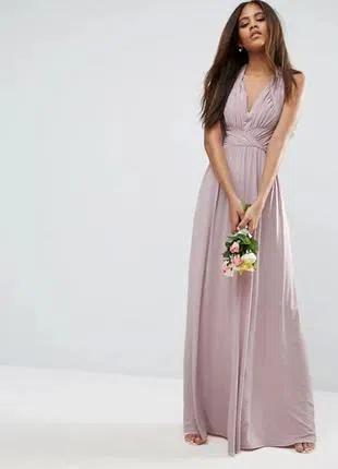 Вечернее макси платье сиреневого цвета
