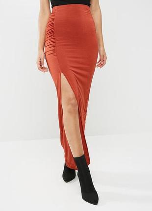 Шикарная идеальная облегающая прямая юбка макси с разрезом спе...
