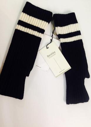 Перчатки митенки вязаные в рубчик черные с белыми полосками be...