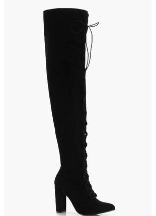 Замшевые черные ботфорты со шнуровкой 36/37 boohoo