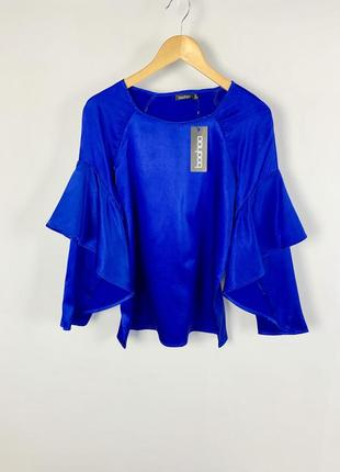 Атласная синяя блуза топ с рюшами по рукавах boohoo