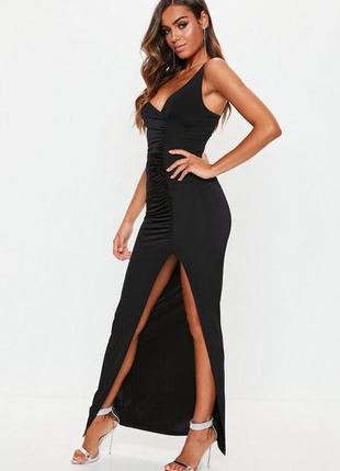 Супер идеальное черное вечернее платье на тонких бретельках с ...