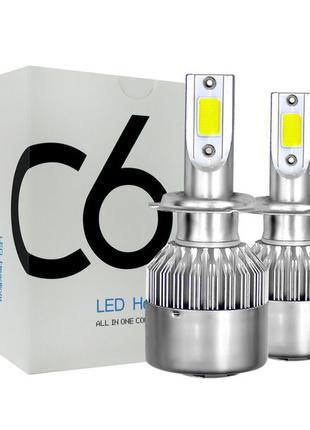 Автолампа LED C6 H4 белая коробка (50)