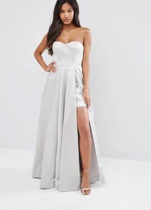 Стильное серое вечернее платье
