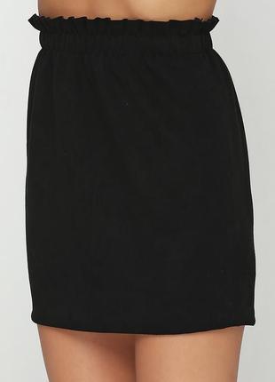 Качественная черная мини юбка на высокой посадке bershka