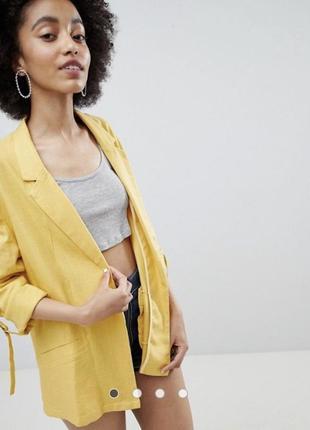 Желтый горчичный льняной пиджак блайзер жакет bershka