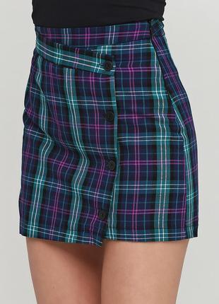 Крутая юбка в клетку с эффектом запаха на пуговицах высокая по...