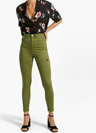 Идеальные джинсы скинни в цвете хаки на очень высокой посадке ...
