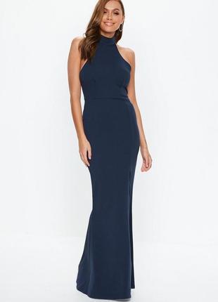 Шикарное вечернее темно-синее платье макси с открытой спиной и...