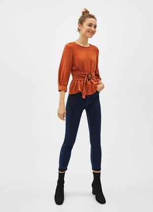 Терракотовая блуза с рукавом три четверти и поясом на талии be...
