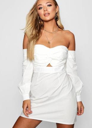 Белое платье с открытыми плечами и вырезом бюстье из натуральн...