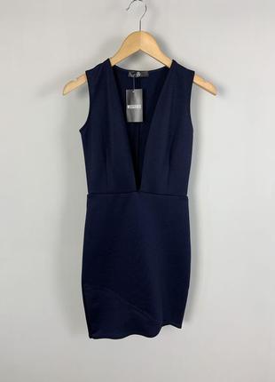 Вечернее коктейльное темно-синие облегающее платье с глубоким ...