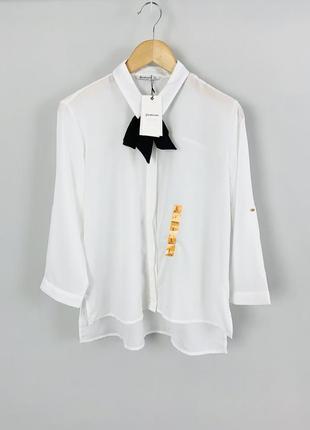 Белая офисная деловая блуза рубашка с галстуком stradivarius