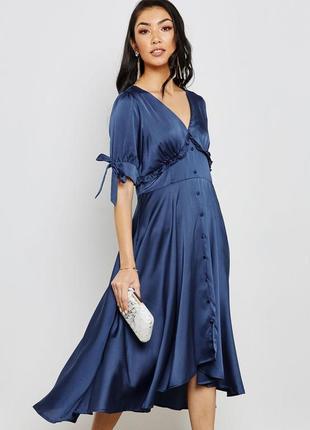 Шикарное качественное вечернее коктейльное синее платье миди с...