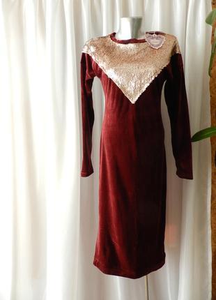 Платье миди велюр  бархат стрейч   с двухсторонними паетками п...