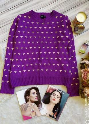Asos теплый яркий свитер в бантики размер 12-14 (44-46)